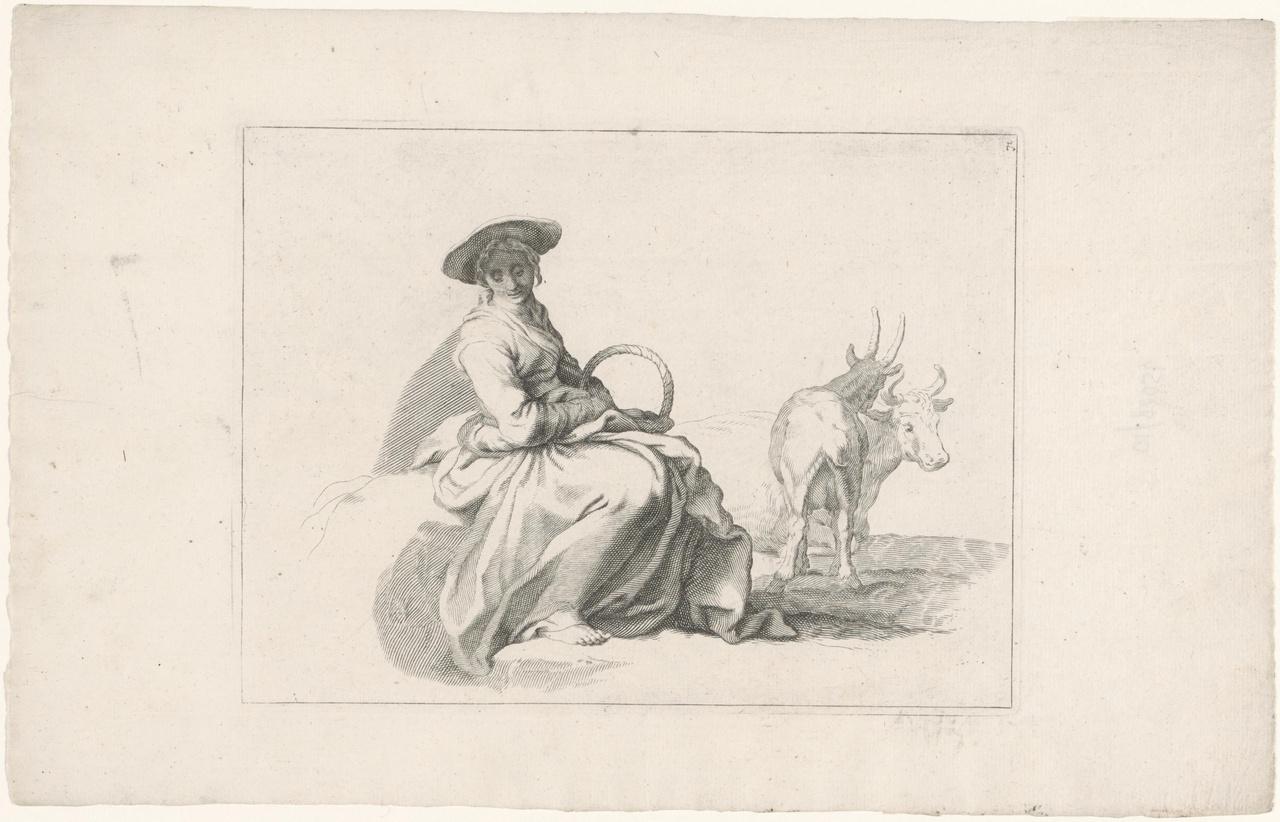 Zittend meisje met een geit en een koe op de achtergrond