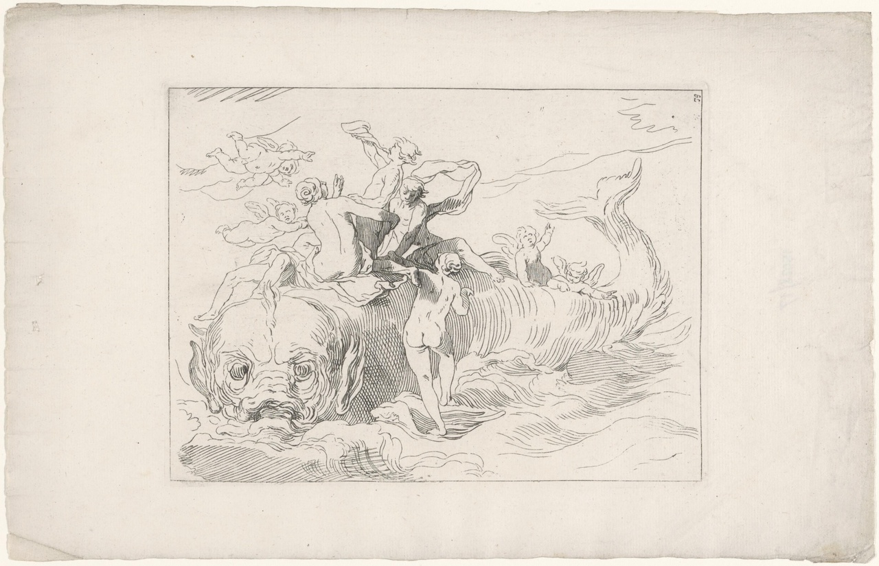 Groep mythologische figuren bij een walvis