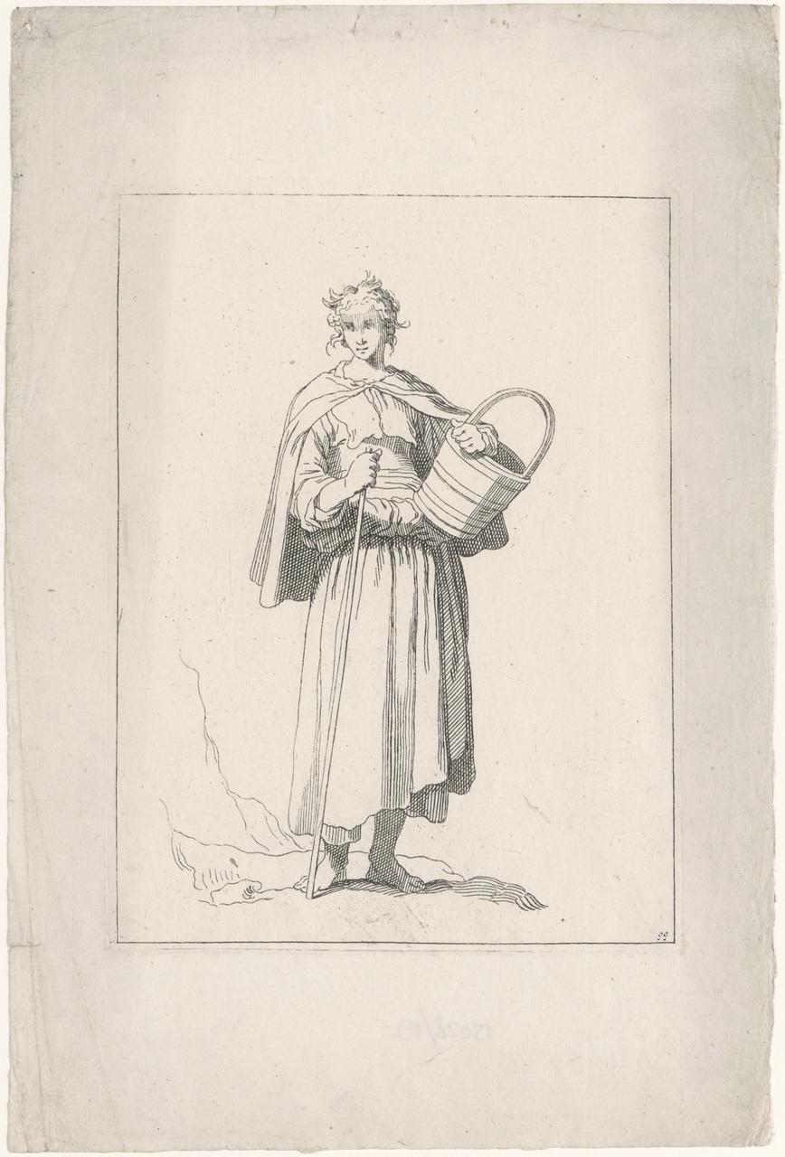 Jonge vrouw met stok en emmer