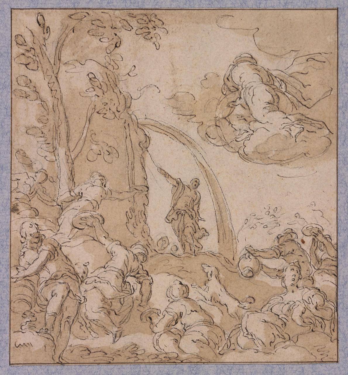 Mozes slaat water uit de rots; verso: Twee vrouwenfiguren
