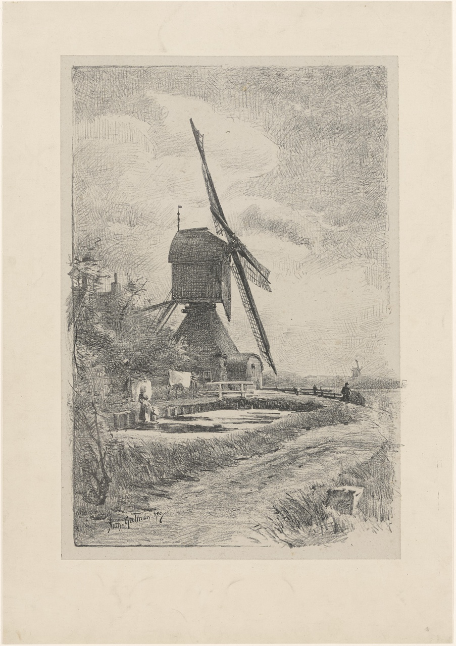 Windmolen in landschap