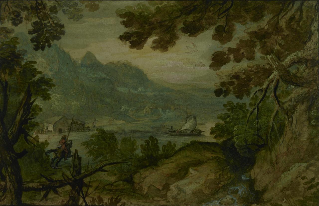 Bergachtig landschap aan een meer of rivier