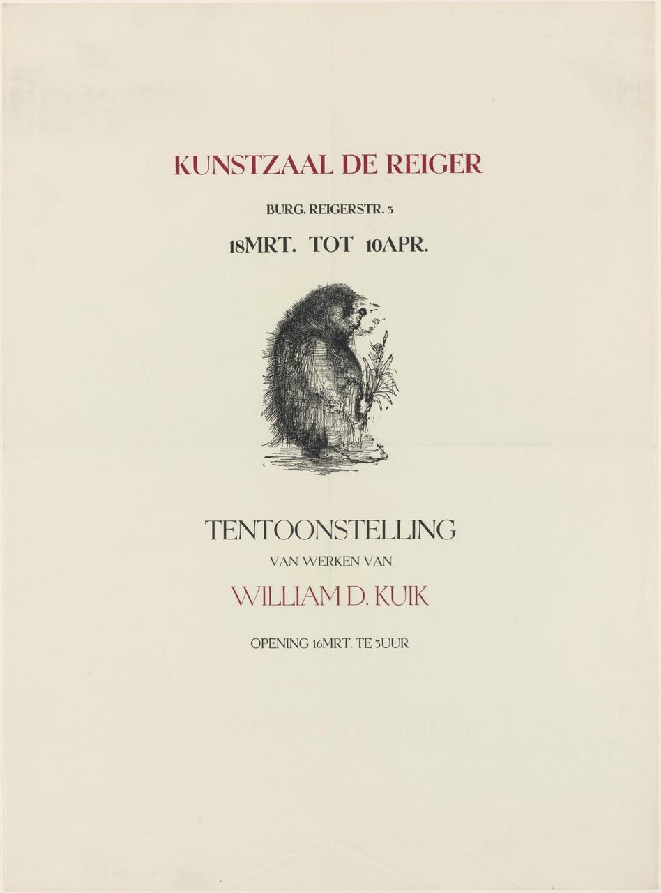 Uitnodiging tentoonstelling Kunstzaal De Reiger te Utrecht