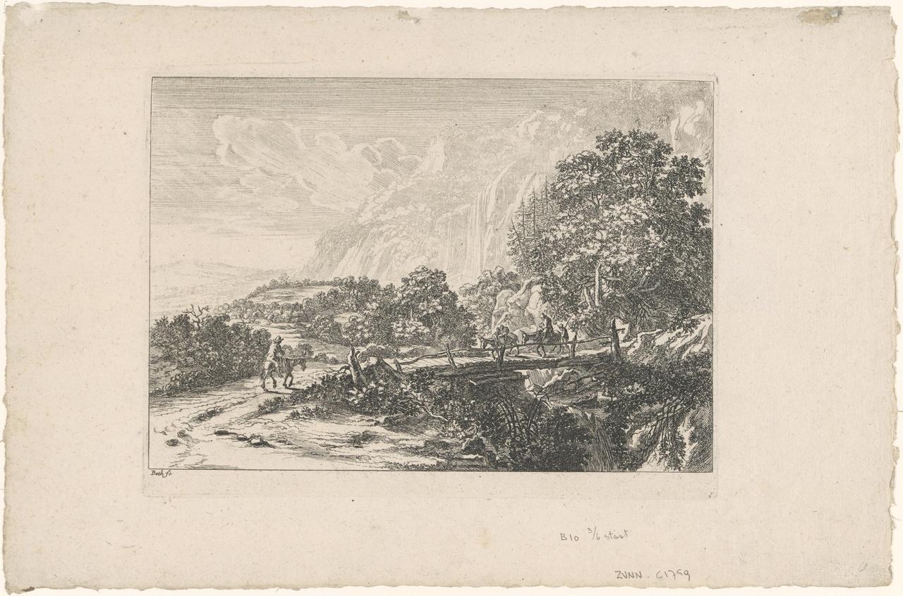 Houten brug te Sulmona bij Tivoli