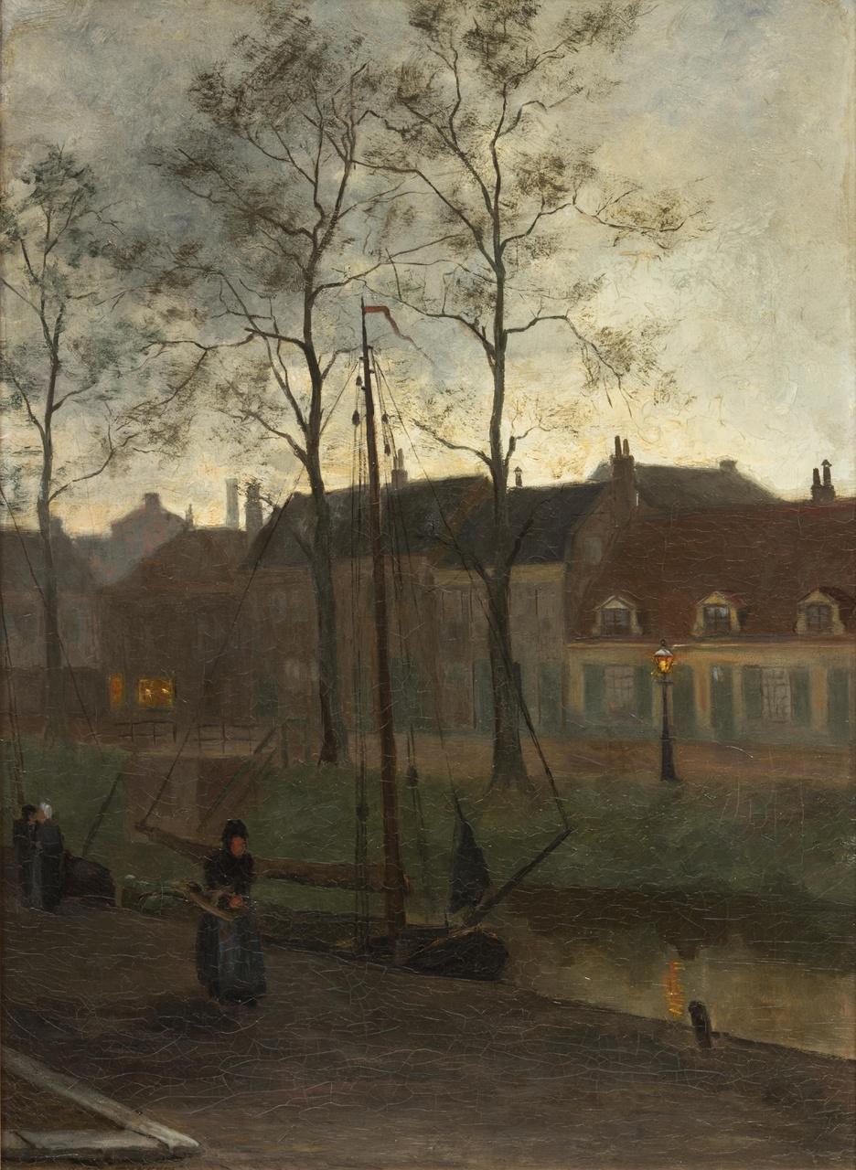 Uitzicht bij avond, vanuit hoek Van Wijckskade, Utrecht