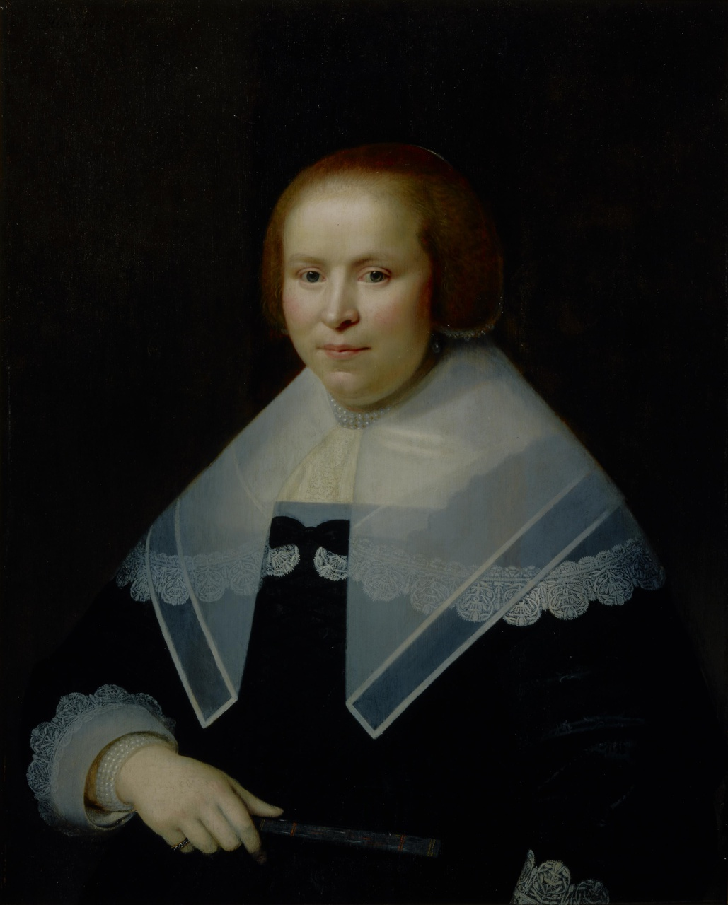 Portret van Jacoba Lampsins (1613/14-1667), echtgenote van Carel Martens