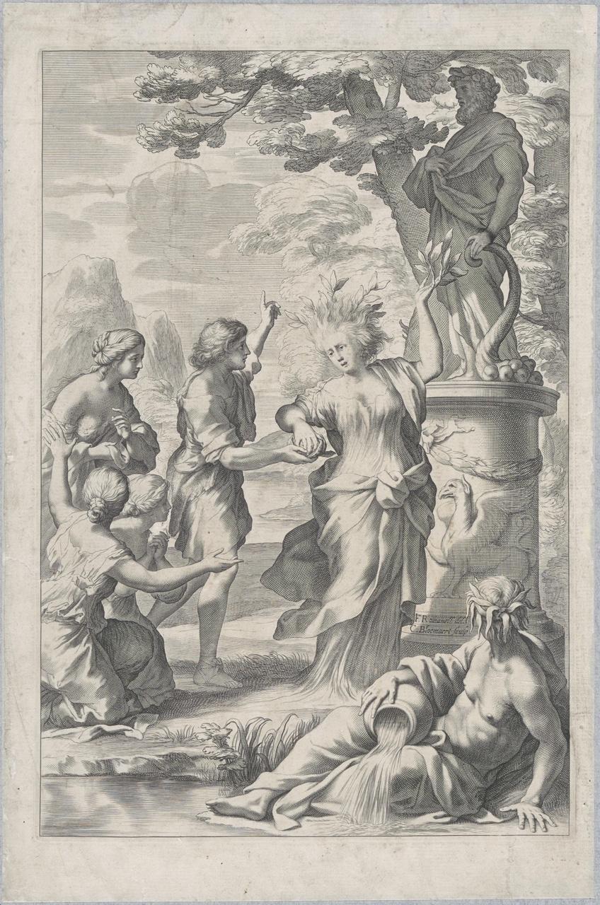 Tirsenia, moeder van Hermonillus, verandert in een citroenboom
