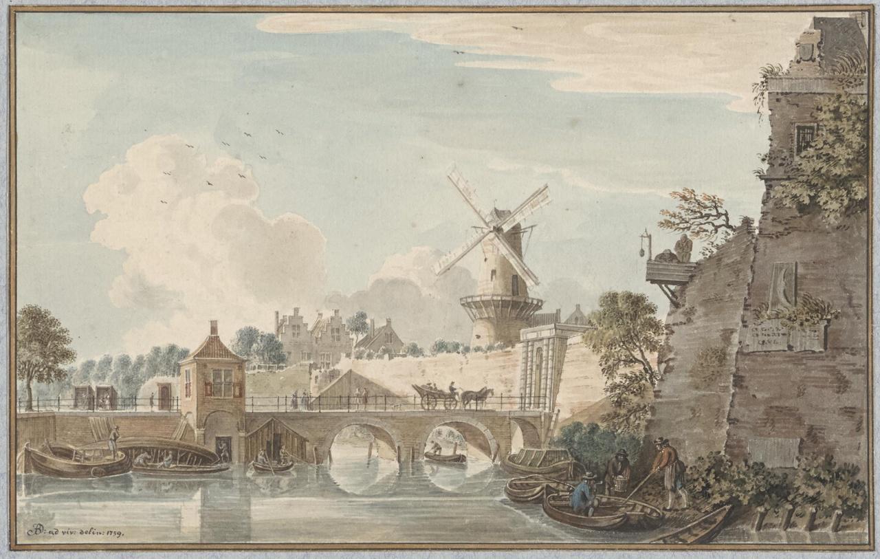 De Tolsteegpoort te Utrecht vanaf de Kromme Rijn gezien