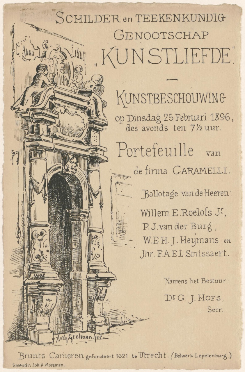 Uitnodiging van Genootschap Kunstliefde voor een kunstbeschouwing op 25 februari 1896