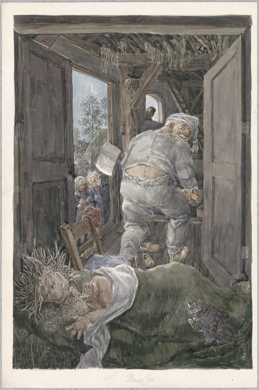 Illustratie voor het sprookje 'Slimme Jan'