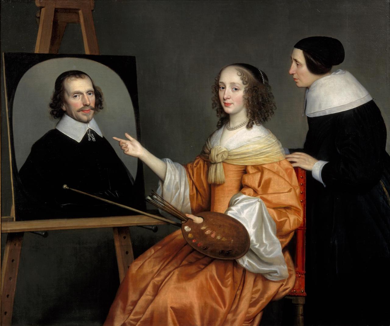 Portret van Margareta Maria de Roodere (ca. 1625-1666) en haar ouders Gerard de Roodere (?-1656) en Maria van Putten (?-1655?)