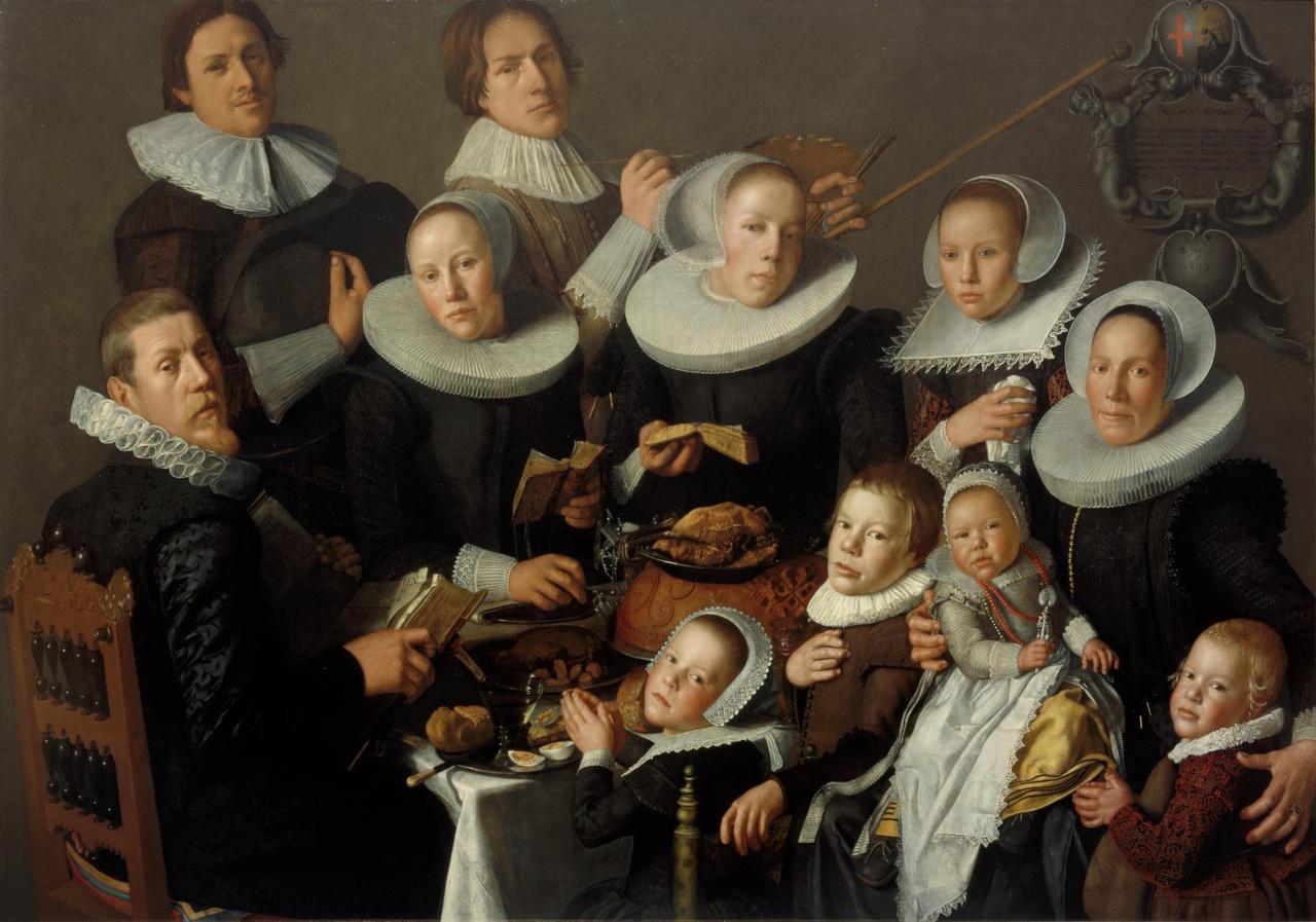 Portret van de schilder Andries van Bochoven en zijn familie