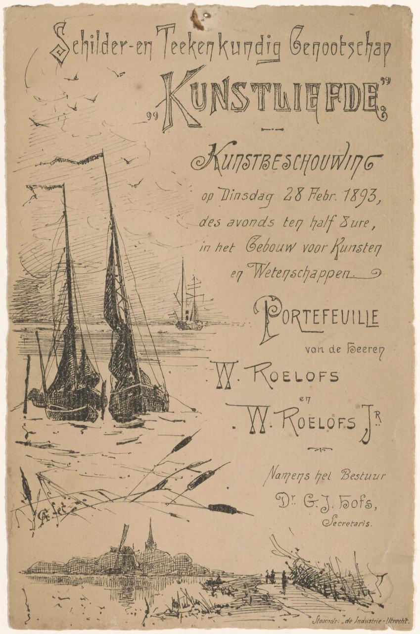 Convocatie van Genootschap Kunstliefde voor een kunstbeschouwing op 28 februari 1893
