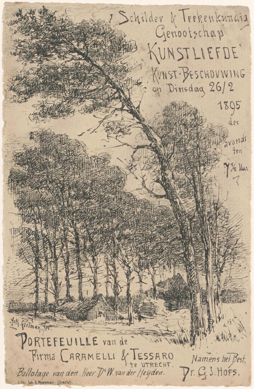 Convocatie van Genootschap Kunstliefde voor een kunstbeschouwing op 26 februari 1895