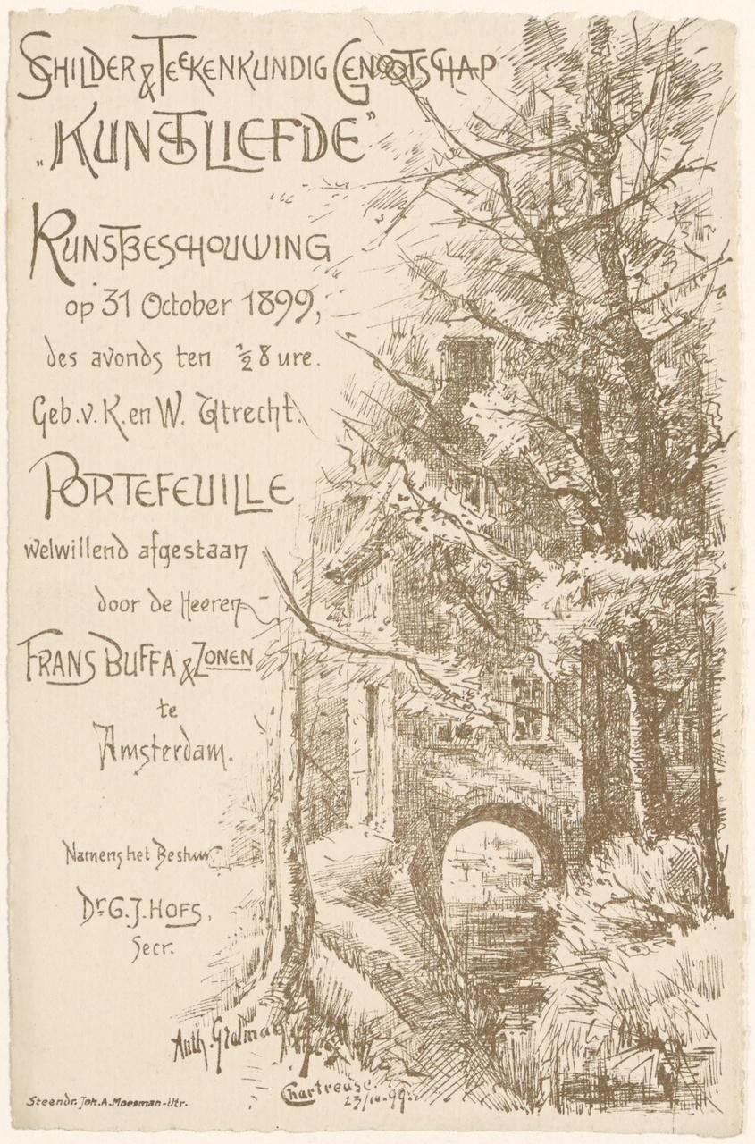 Uitnodiging van Genootschap Kunstliefde voor een kunstbeschouwing op 31 oktober 1899