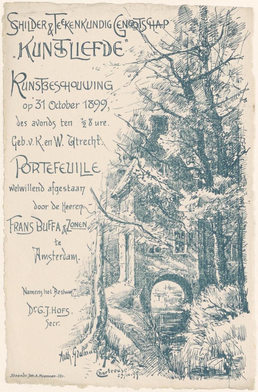 Convocatie van Genootschap Kunstliefde voor een kunstbeschouwing op 31 oktober 1899