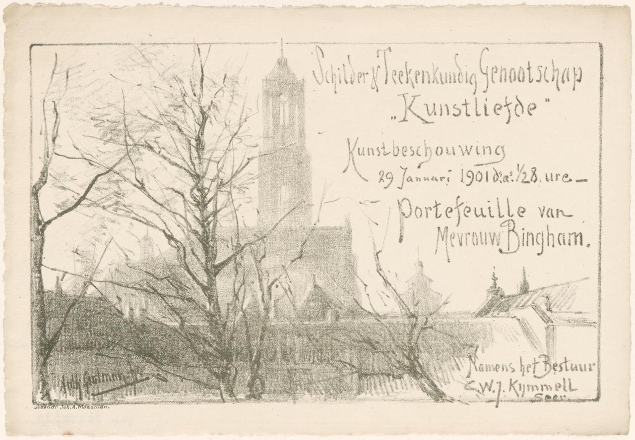 Uitnodiging van Genootschap Kunstliefde voor een kunstbeschouwing op 29 januari 1901