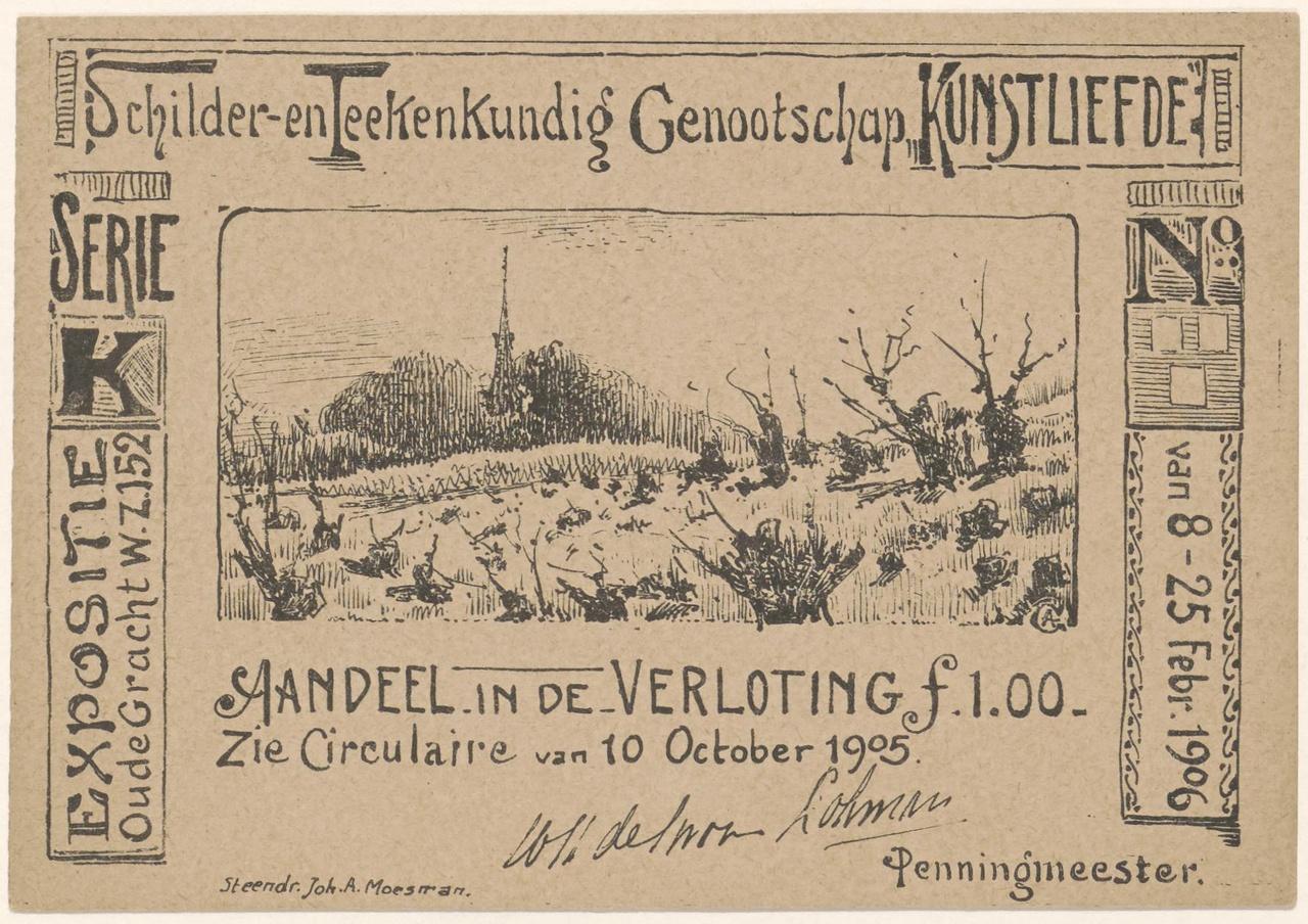 Lot van een loterij in Genootschap Kunstliefde in februari 1906