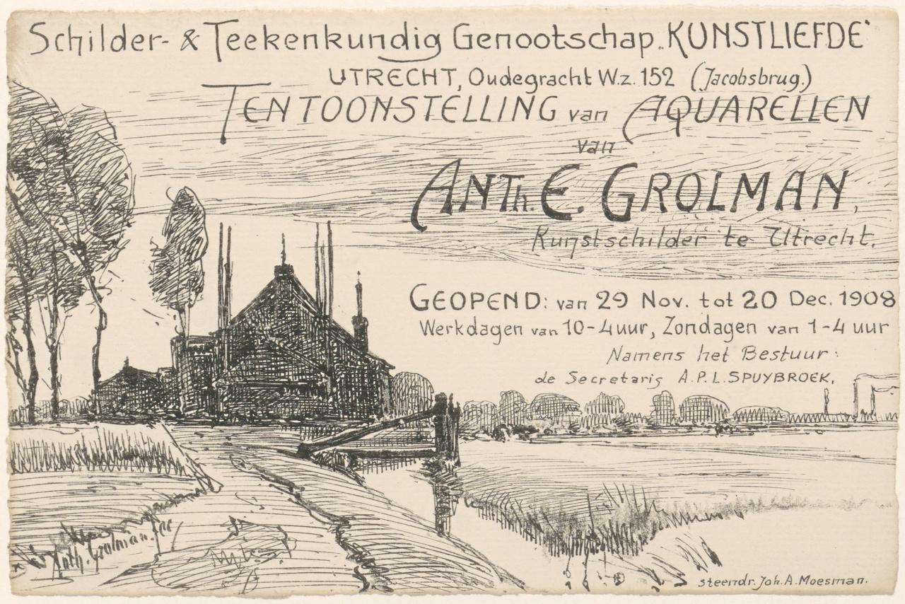 Convocatie van Genootschap Kunstliefde voor de tentoonstelling van aquarellen van Anthonie Grolman in 1908