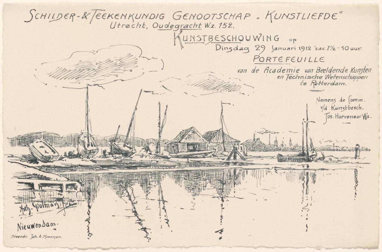 Convocatie van Genootschap Kunstliefde voor een kunstbeschouwing op 29 januari 1912