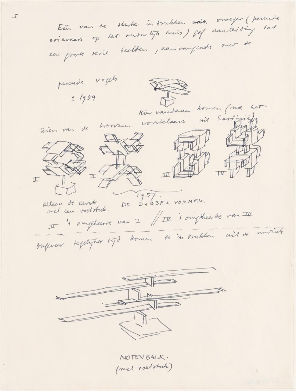Ruimtelijke constructies met notities van de kunstenaar, pag. I voor Mededelingen nr. 14