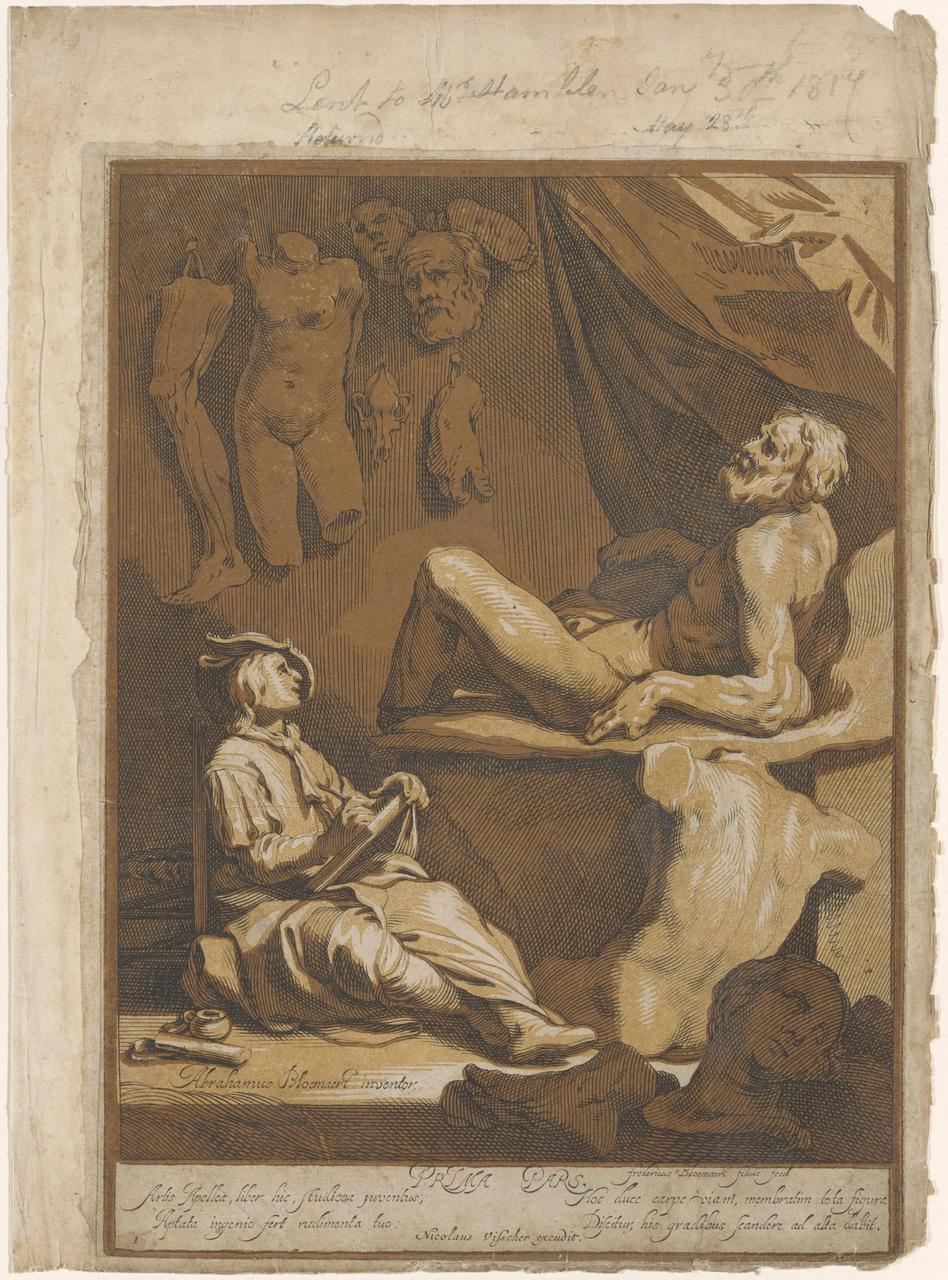 Kunstenaar en zijn model (Titelblad van het eerste deel van het tekenboek Artis Apellae)