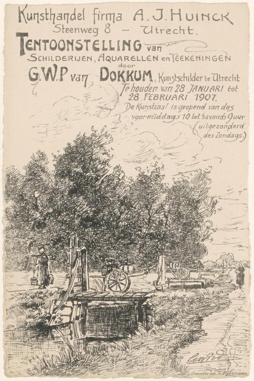 Uitnodiging van Genootschap Kunstliefde voor tentoonstelling van G.W.P. van Dokkum