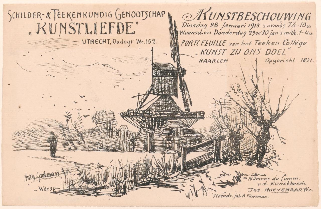 Uitnodiging van Genootschap Kunstliefde voor een kunstbeschouwing op 28 januari 1913