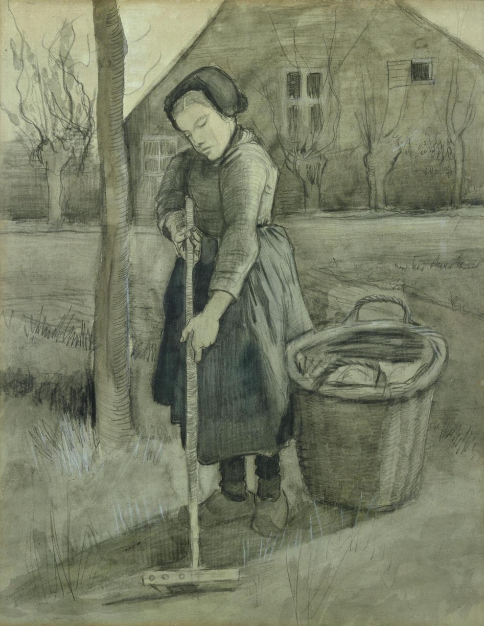 Jong meisje in een tuin (Harkend meisje)