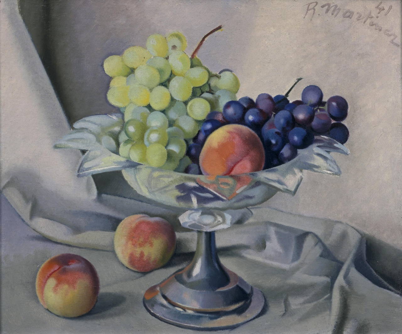 Stilleven met druiven en perziken