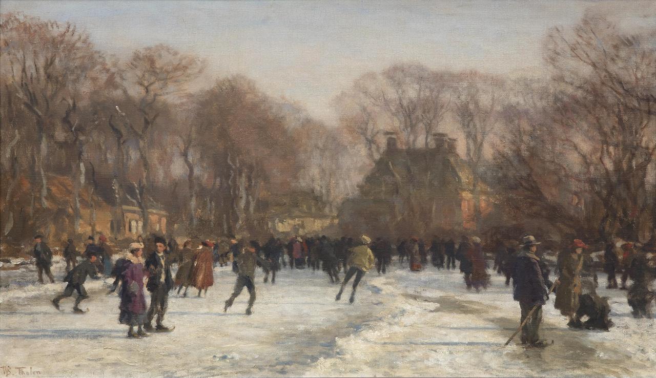 Schaatsenrijders op de vijver bij het Huis Ten Bosch