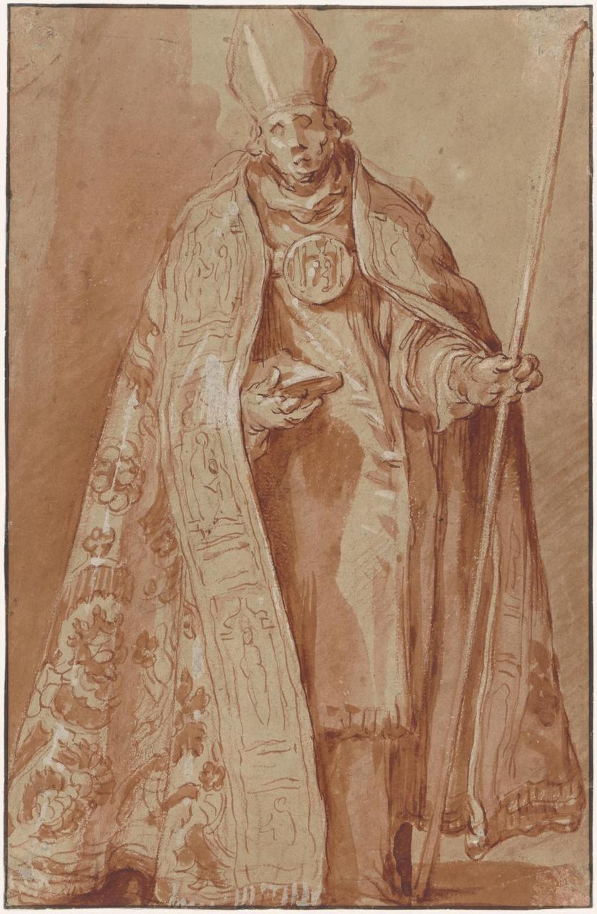 Bisschop, verso: Geknielde geestelijke