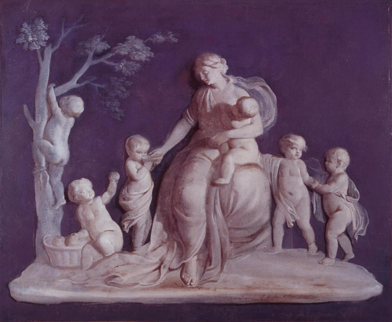 Allegorische voorstelling van een vrouw met putti