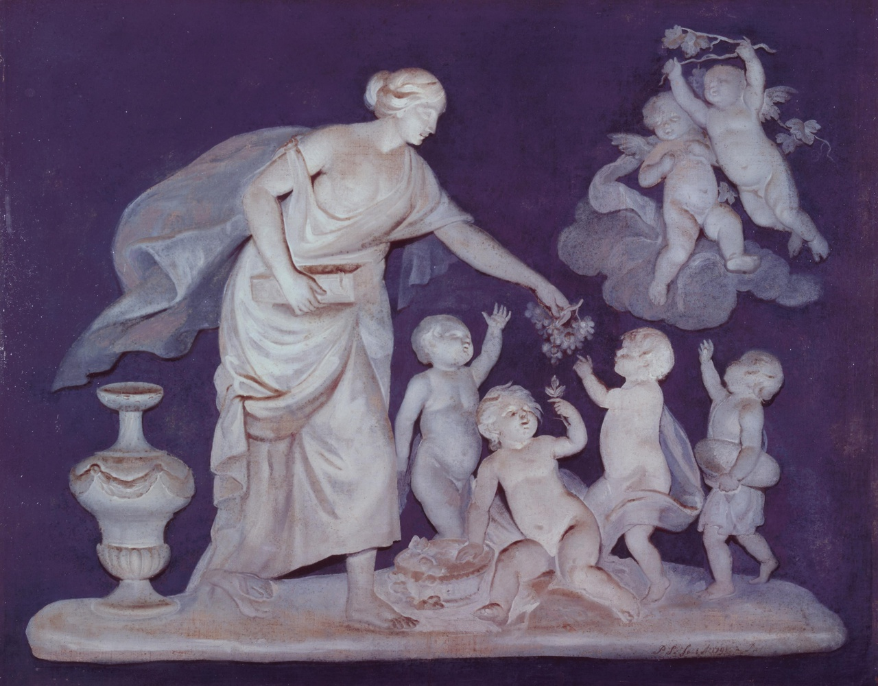 Allegorische voorstelling van een vrouw die druiven uitdeelt aan putti