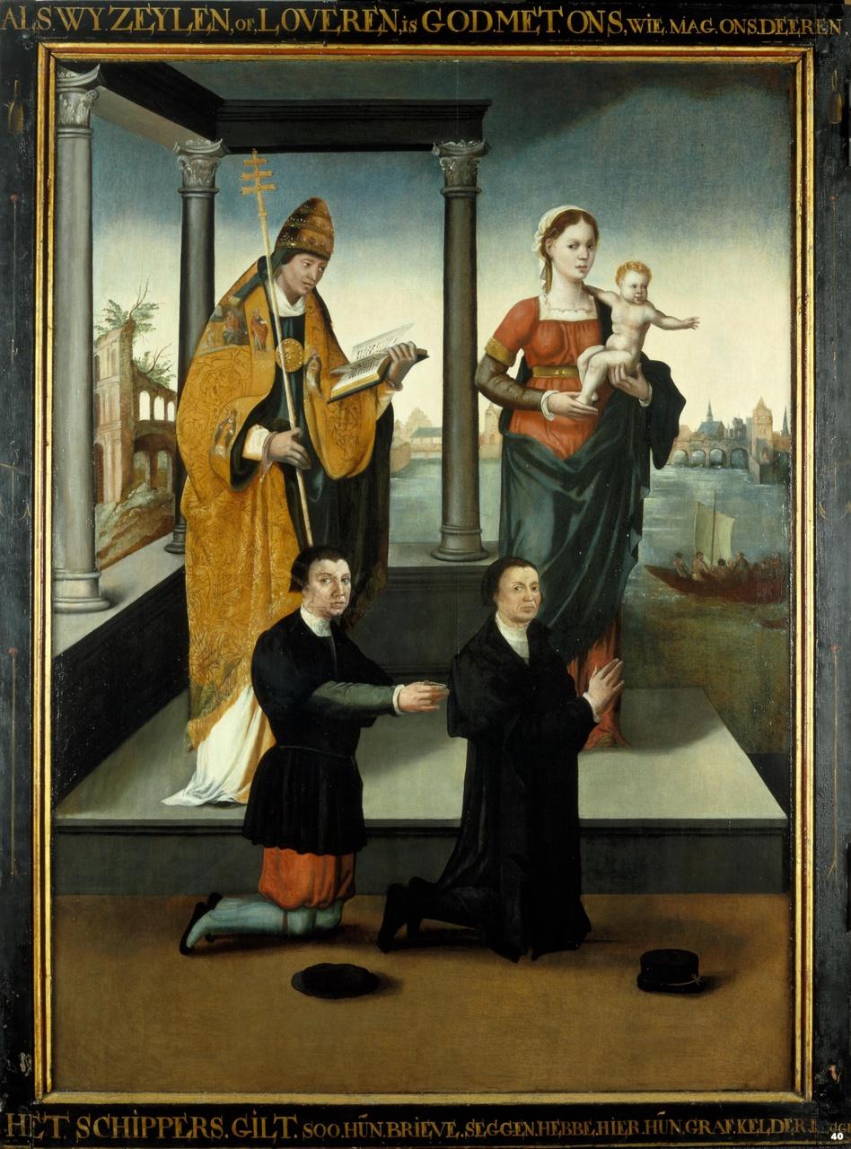 Linkerluik van het drieluik van de schuitenvoerders in de Jacobikerk te Utrecht, met stichtersfiguren en heiligen