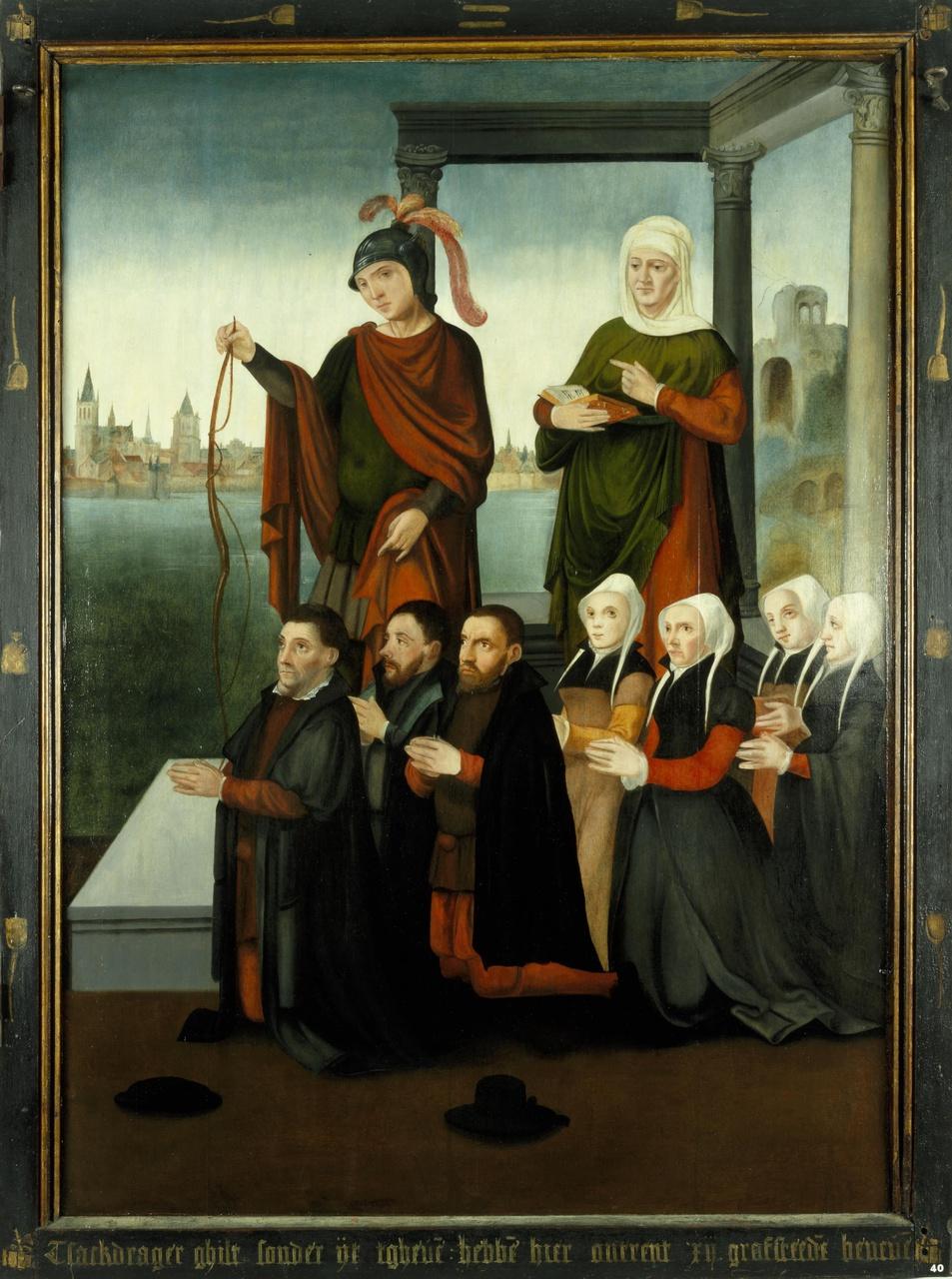 Rechterluik van het drieluik van de schuitenvoerders in de Jacobikerk te Utrecht, met stichtersfiguren en heiligen