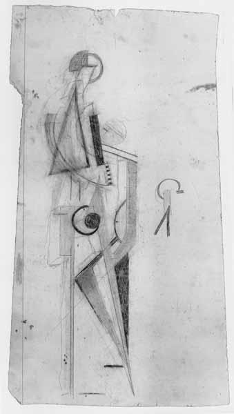Figuur staande in een constructie