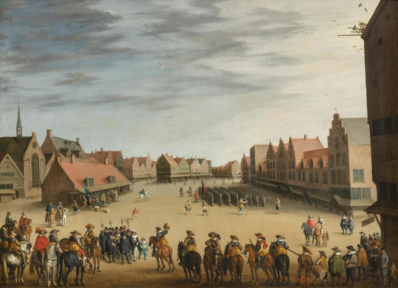 De afdanking van de Waardgelders door prins Maurits op de Neude te Utrecht in 1618