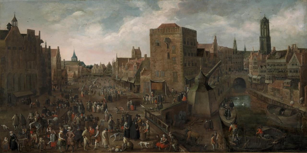 De Ganzenmarkt en de Stadhuisbrug te Utrecht