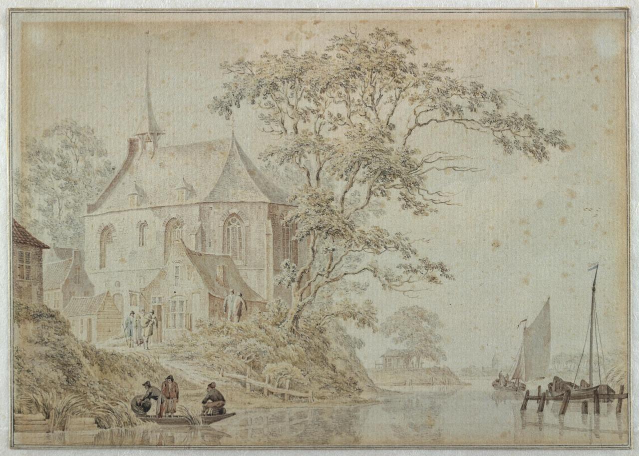 Rivierlandschap met kapel
