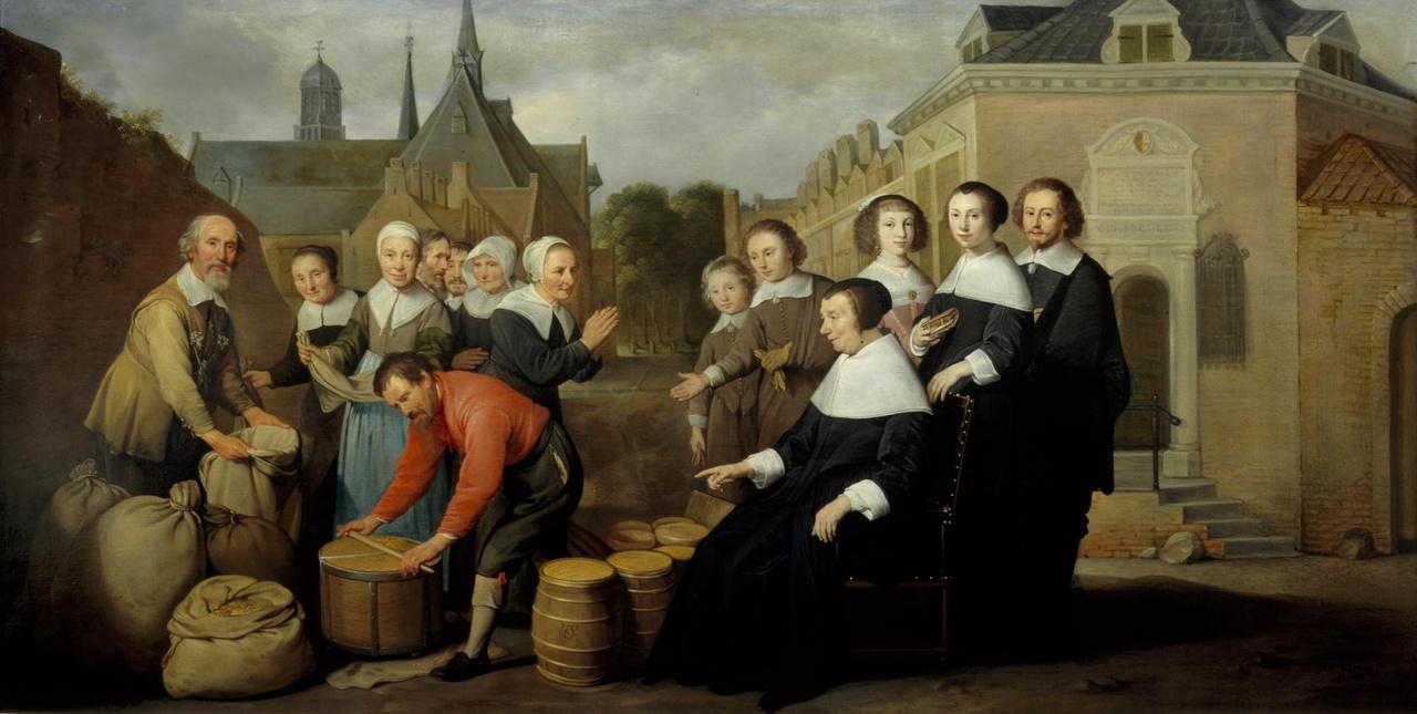 De jaarlijkse voedseluitdeling aan de armen door Maria van Pallaes