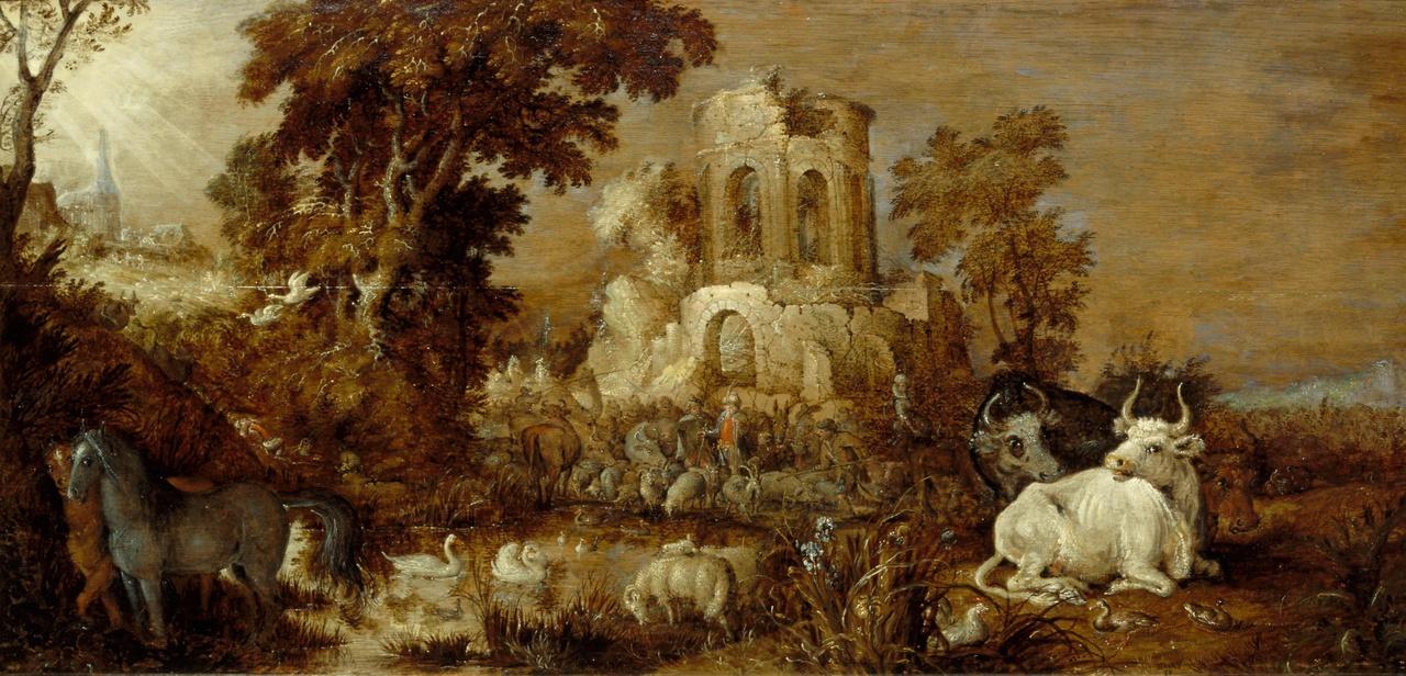 Landschap met ruïne en vee bij een vijver