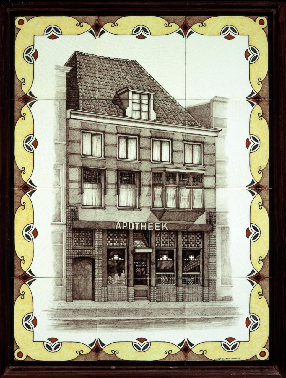 Tegeltableau met afbeelding van apotheek Bergema te Utrecht