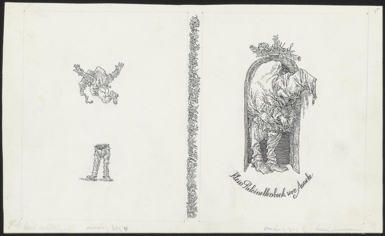 """Originele tekeningen voor """"Klein  Pulcinellenboek voor Anneke"""""""