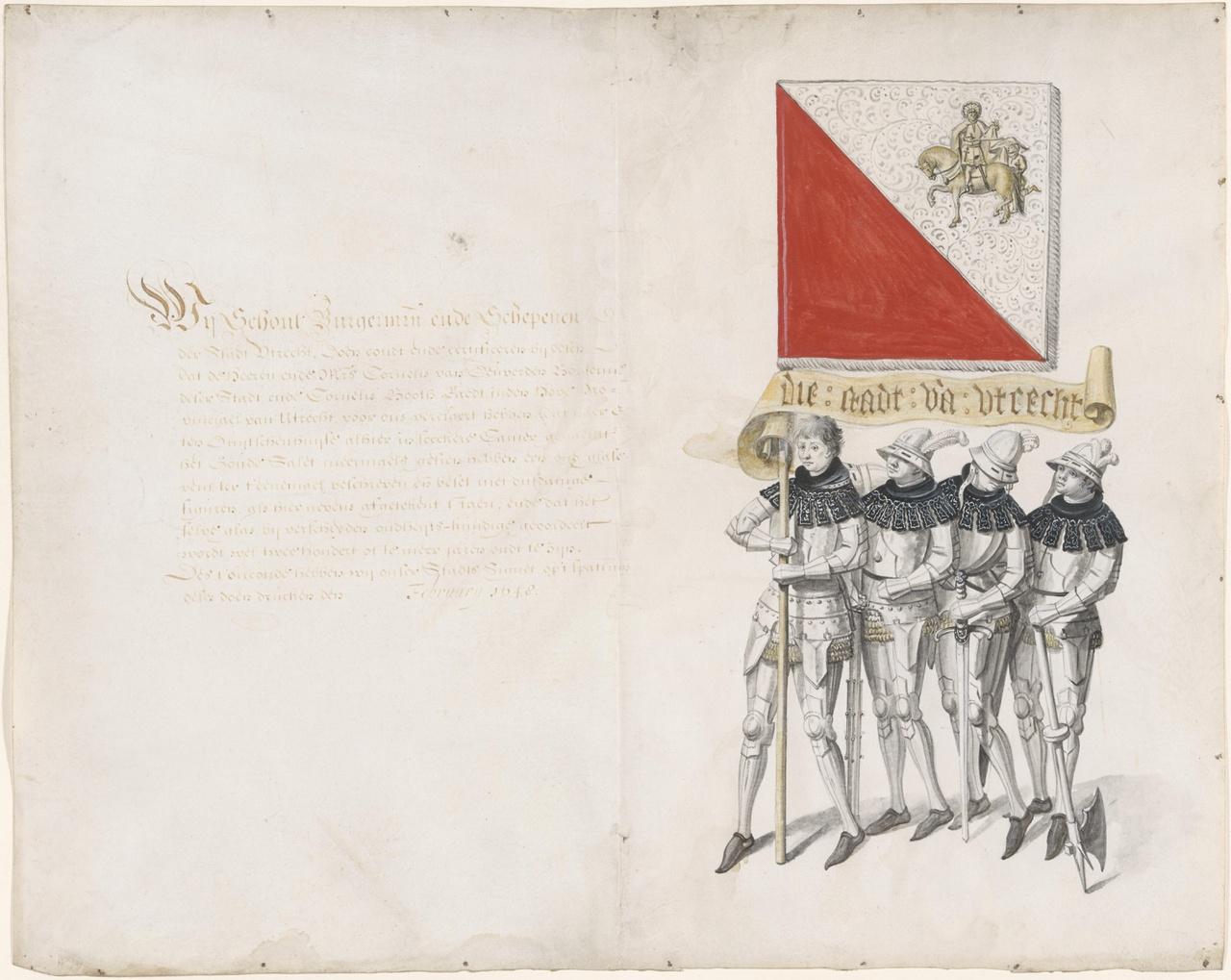 Vier burgers met de stadsbanier van Utrecht