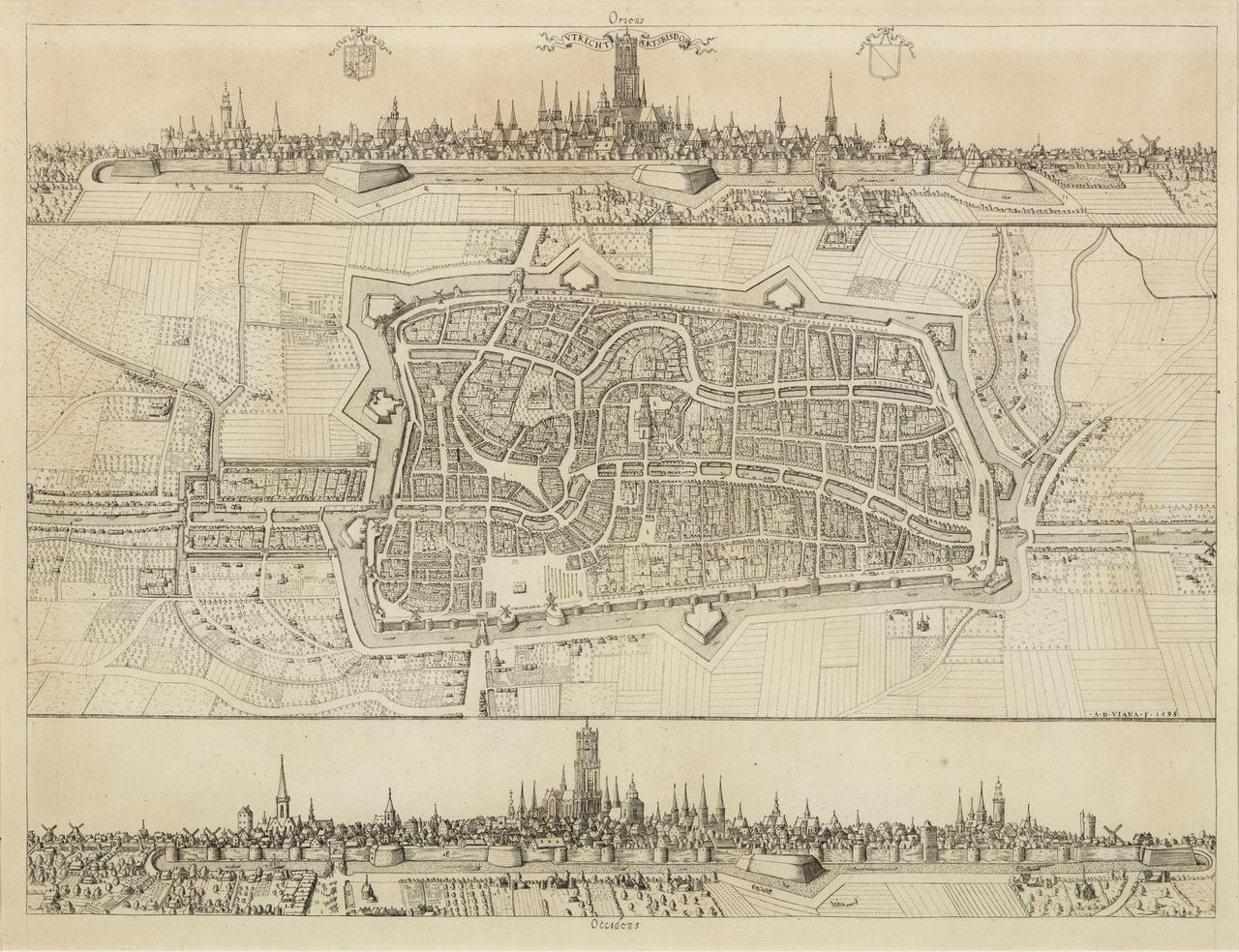 Vtrecht Aertsbisdom. Stadskaart van Utrecht, met gezichten op de oost- en de westzijde van de stad