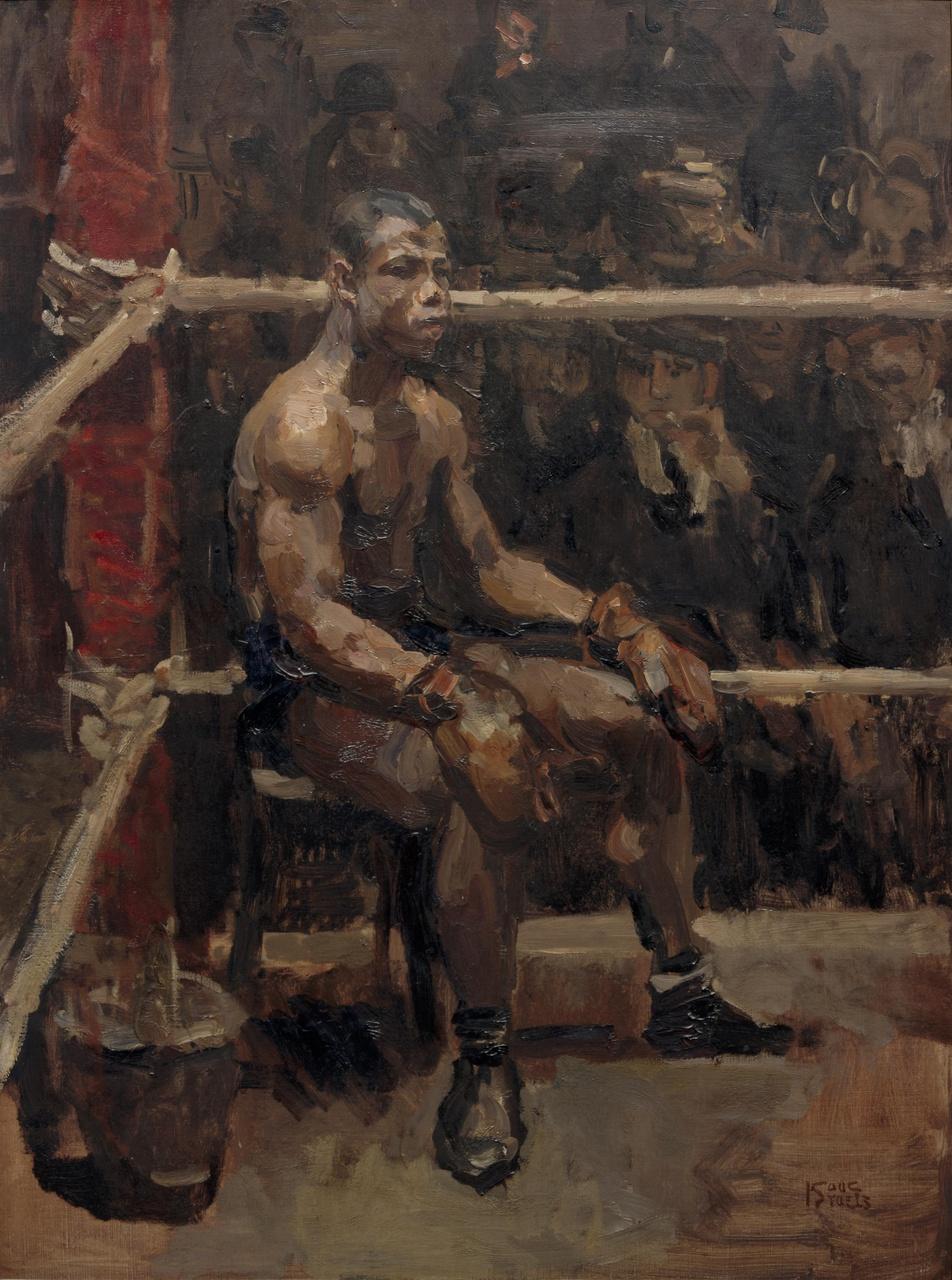 Portret van een zwarte bokser