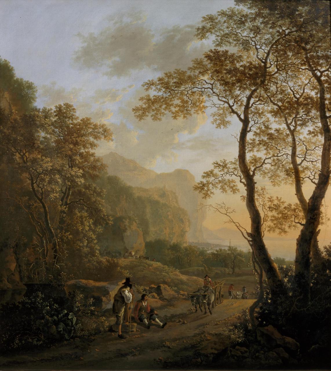 Landschap met rustende reizigers en een ossenwagen