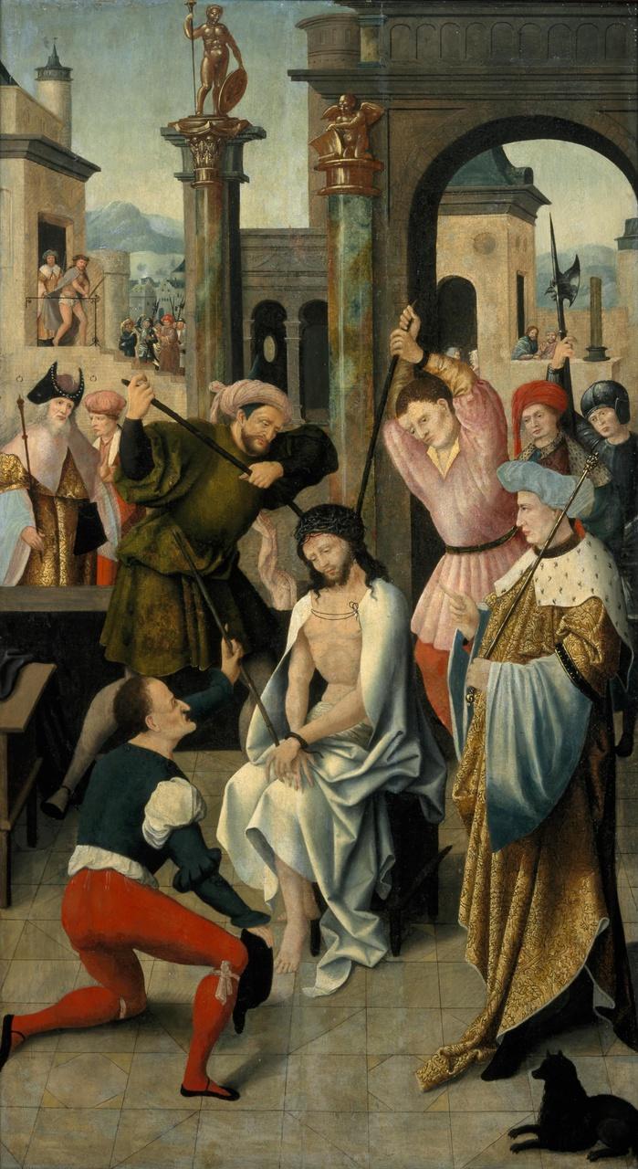 Rechterluik (buitenzijde) van een drieluik van de familie Snoy met de bespotting van Christus