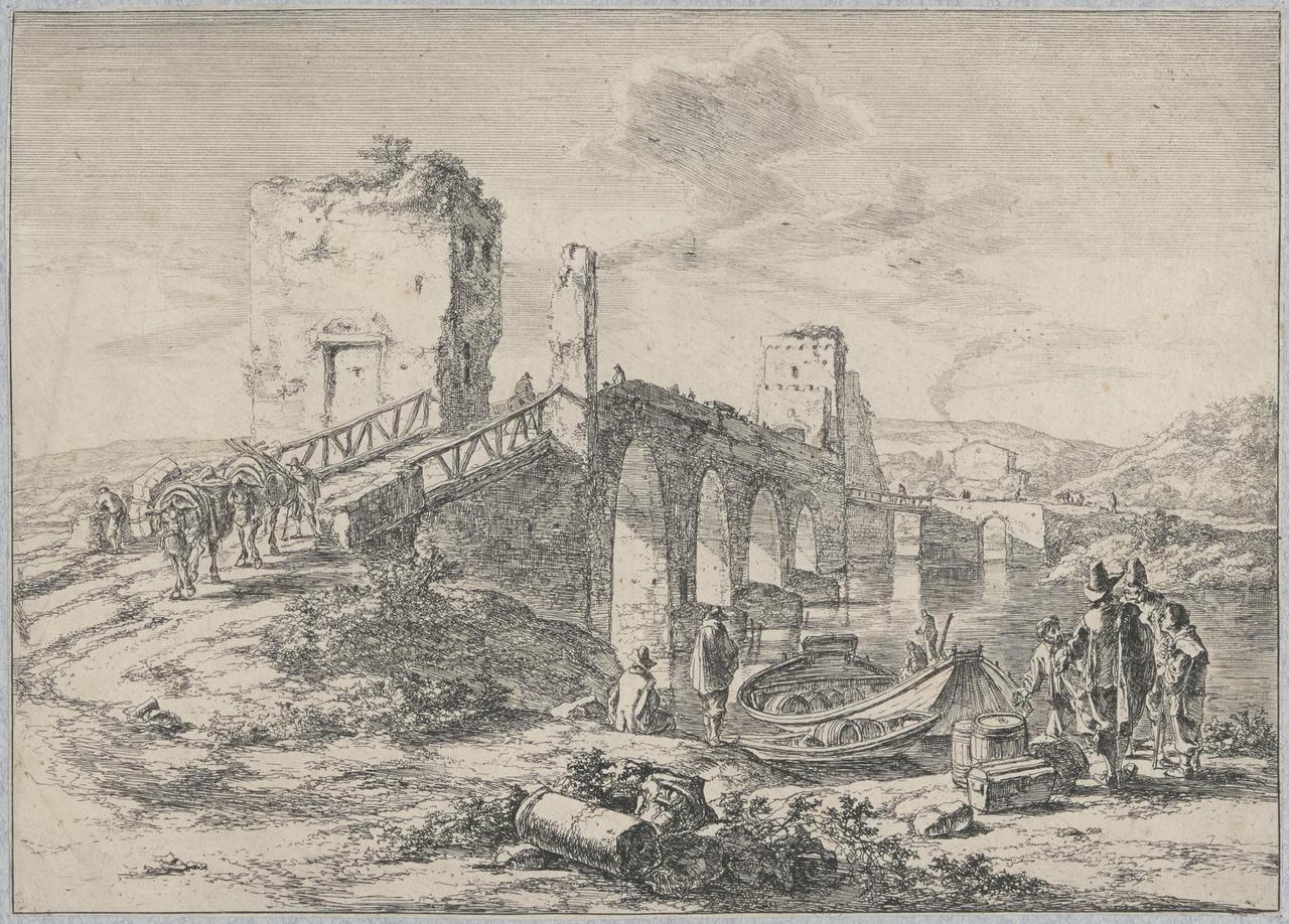 De Ponte Molle over de Tiber te Rome